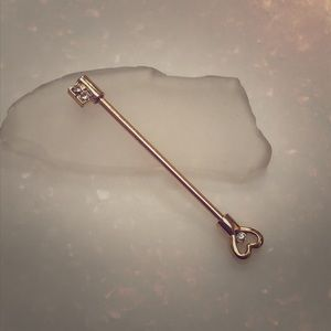 14k Gold Plated Heart Key Industrial Barbell 14g